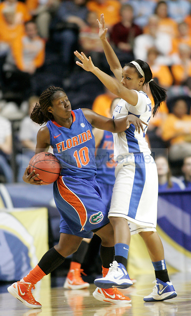 Sophomore guard Maegan Conwright guards Florida's sophomore guard Jaterra Bonds during the first half of the UK Hoops vs. Florida SEC Tournament at Bridgestone Arena in Nashville, Tenn., on Friday, Mar. 2, 2012. Photo by Tessa Lighty | Staff