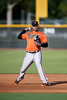 Baltimore Orioles Jomar Reyes (70) during practice before an Instructional League game against the New York Yankees on September 23, 2017 at the Yankees Minor League Complex in Tampa, Florida.  (Mike Janes/Four Seam Images)