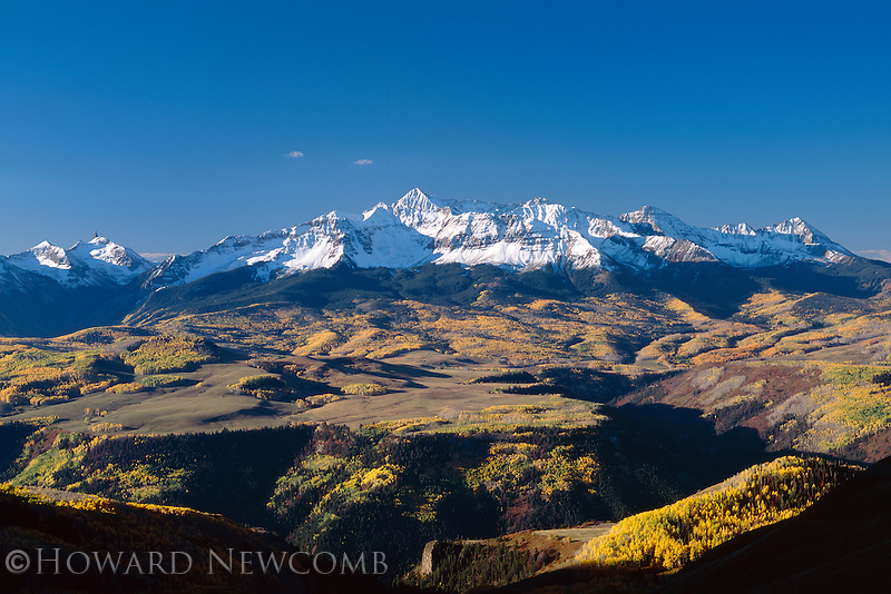 Wilson Peak at sunrise on a clear Autumn morning in the San Juan Mountains near Telluride, Colorado