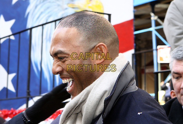 MARIANO RIVERA, #42 of the New York Yankees.New York Yankees World Series Victory Parade New York City, New York, NY, USA..November 6th, 2009.headshot portrait white scarf profile smiling mouth open laughing .CAP/ADM/PZ.©Paul Zimmerman/AdMedia/Capital Pictures.
