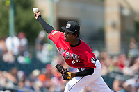 Billings Mustangs starting pitcher Jhon De Jesus (28) delivers a pitch to the plate against the Missoula Osprey at Dehler Park on August 20, 2017 in Billings, Montana.  The Osprey defeated the Mustangs 6-4.  (Brian Westerholt/Four Seam Images)
