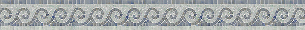 "4"" Viesta border, a hand-cut mosaic shown in polished Ming Green and Blue Macauba by New Ravenna."