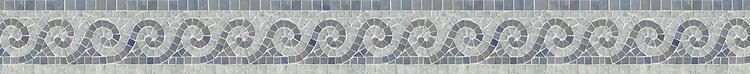 "4"" Viesta border, a hand-cut mosaic shown in polished Ming Green and Blue Macauba by New Ravenna."