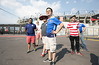 MEXICO CITY, MEXICO - June 11, 2017:  USA fans arrive for the World Cup Qualifier match against Mexico at Azteca Stadium.