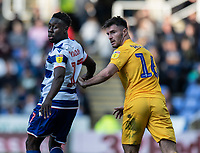 Preston North End's Andrew Hughes (right) vies for possession with Reading's Andy Yiadom (left) <br /> <br /> Photographer David Horton/CameraSport<br /> <br /> The EFL Sky Bet Championship - Reading v Preston North End - Saturday 19th October 2019 - Madejski Stadium - Reading<br /> <br /> World Copyright © 2019 CameraSport. All rights reserved. 43 Linden Ave. Countesthorpe. Leicester. England. LE8 5PG - Tel: +44 (0) 116 277 4147 - admin@camerasport.com - www.camerasport.com