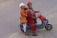 Two characters getting into the fun the day before  the Holi festival in Bikaner, Rajasthan, India,