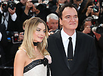 "72nd edition of the Cannes Film Festival in Cannes in Cannes, southern France on May 21, 2019. Red Carpet for the screening of the film ""Once Upon a Time... in Hollywood"" Australian actress Margot Robbie and, US film director, screenwriter, producer, and actor Quentin Tarantino on the red carpet.<br /> © Pierre Teyssot / Maxppp"
