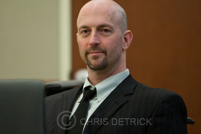 Eugene Christopher Wright during the trial at the 3rd District Court in West Jordan Tuesday, April 27, 2010. Wright, 35, is on trial for the Nov. 15, 2007, shooting death of Kenneth Dolezsar, 50, a Springville businessman and hockey coach at what was then Utah Valley State College.