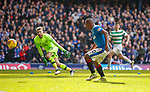 11.3.2018 Rangers v Celtic:<br /> Alfredo Morelos watches as Scott Bain saves his shot