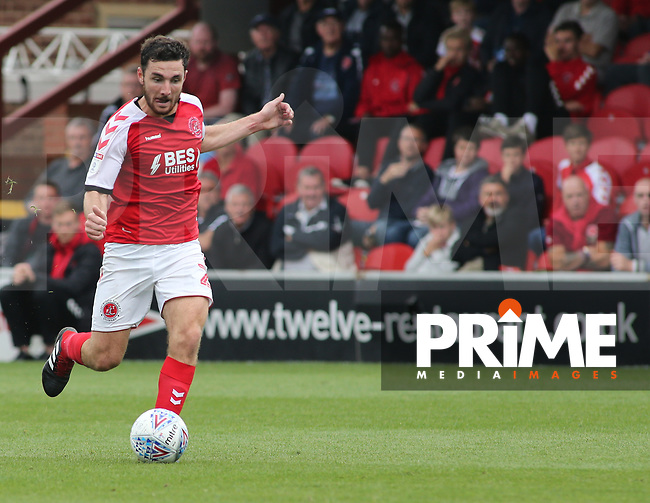 Lewis Coyle of Fleetwood Town  during the Sky Bet League 1 match between Fleetwood Town and Rochdale at Highbury Stadium, Fleetwood, England on 18 August 2018. Photo by Stephen Gaunt / PRiME Media Images.