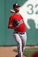 April 14, 2010:  Pitcher Kris Johnson of the Pawtucket Red Sox delivers a pitch in the bullpen during a game at Coca-Cola Field in Buffalo, New York.  Pawtucket is the Triple-A International League affiliate of the Boston Red Sox.  Photo By Mike Janes/Four Seam Images