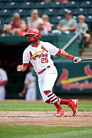 Springfield Cardinals right fielder Anthony Garcia (25) follows through on a swing during a game against the San Antonio Missions on June 4, 2017 at Hammons Field in Springfield, Missouri.  San Antonio defeated Springfield 6-1.  (Mike Janes/Four Seam Images)