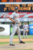 May 13, 2010 Pitcher Andrei Lobanov  of the Fort Myers Miracle, Florida State League Class-A affiliate of the Minnesota Twins, delivers a pitch during a game at George M. Steinbrenner Field in Tampa, FL. Photo by: Mark LoMoglio/Four Seam Images