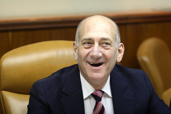 Prime Minister Ehud Olmert in his last cabinet meeting at the PM's office in Jerusalem.  March 30 2009. Photo: Ariel Jerozolimski / Pool / JINI