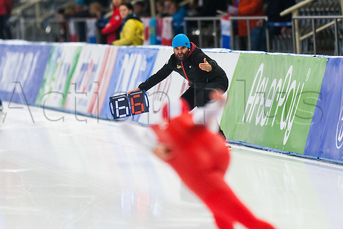 January 29th 2017, Sportforum, Berlin, Germany; ISU Speed Skating World Cup;  ISU Speed Skating World Cup  1000m Division B;  Trainer Witold Roman cheers on Piotr Puszkarski (POL)