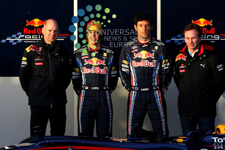 F1 Tests, Jerez Spain  10. - 14. February 2010.Adrian Newey (GBR), Red Bull Racing (ex. McLaren), Technical Operations Director - Sebastian Vettel (GER), Red Bull Racing - Mark Webber (AUS), Red Bull Racing - Christian Horner (GBR), Red Bull Racing, Sporting Director ..Hasan Bratic;Koblenzerstr.3;56412 Nentershausen;Tel.:0172-2733357;.hb-press-agency@t-online.de;http://www.uptodate-bildagentur.de;.Veroeffentlichung gem. AGB - Stand 09.2006; Foto ist Honorarpflichtig zzgl. 7% Ust.;Hasan Bratic,Koblenzerstr.3,Postfach 1117,56412 Nentershausen; Steuer-Nr.: 30 807 6032 6;Finanzamt Montabaur;  Nassauische Sparkasse Nentershausen; Konto 828017896, BLZ 510 500 15;SWIFT-BIC: NASS DE 55;IBAN: DE69 5105 0015 0828 0178 96; Belegexemplar erforderlich!..
