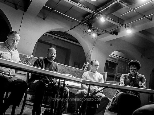 Tony Greenberg, Christopher Holbert, John Tweel and Anika Harden read  a new play,  Mr. Carver and Me,  by Ron Wood at Spooky Action Theater in Washington, DC<br /> <br /> PHOTOS/John Nelson