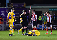Lincoln City's Alan Power is shown a red card by referee Alan Young<br /> <br /> Photographer Andrew Vaughan/CameraSport<br /> <br /> Vanarama National League - Lincoln City v Chester - Tuesday 11th April 2017 - Sincil Bank - Lincoln<br /> <br /> World Copyright &copy; 2017 CameraSport. All rights reserved. 43 Linden Ave. Countesthorpe. Leicester. England. LE8 5PG - Tel: +44 (0) 116 277 4147 - admin@camerasport.com - www.camerasport.com