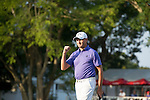 Sam Brazel of Australia celebrates after winning the tournament during the 58th UBS Hong Kong Golf Open as part of the European Tour on 11 December 2016, at the Hong Kong Golf Club, Fanling, Hong Kong, China. Photo by Marcio Rodrigo Machado / Power Sport Images