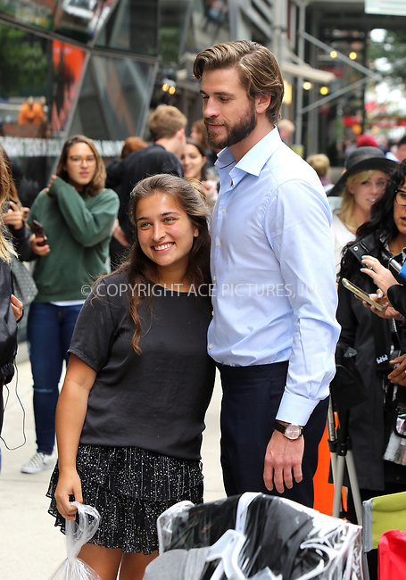 www.acepixs.com<br /> <br /> July 25 2017, New York City<br /> <br /> Liam Hemsworth on the 5th Avenue set of the new movie 'Isn't It Romantic?' on July 25, 2017 in New York City.<br /> <br /> By Line: Philip Vaughan/ACE Pictures<br /> <br /> <br /> ACE Pictures Inc<br /> Tel: 6467670430<br /> Email: info@acepixs.com<br /> www.acepixs.com