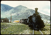 D&amp;RGw #473 is helper on excursion train at Silverton. Two cabooses behind engines.<br /> D&amp;RGW  Silverton, CO