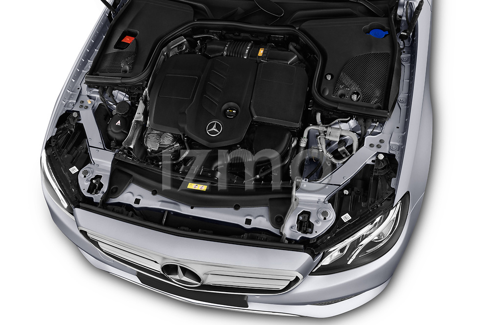 Car stock 2018 Mercedes Benz E Class Business Solution 4 Door Sedan engine high angle detail view