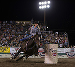 Amber Leigh Moore from Salem, OR won the night's Barrel Racing event during Wolf Pack Night at the Reno Rodeo on Wednesday, June 22, 2016.
