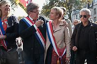 JEAN-LUC MELENCHON, CLEMENTINE AUTAIN - MANIFESTATION DE LA FRANCE INSOUMISE A PARIS, FRANCE, LE 23/09/2017.