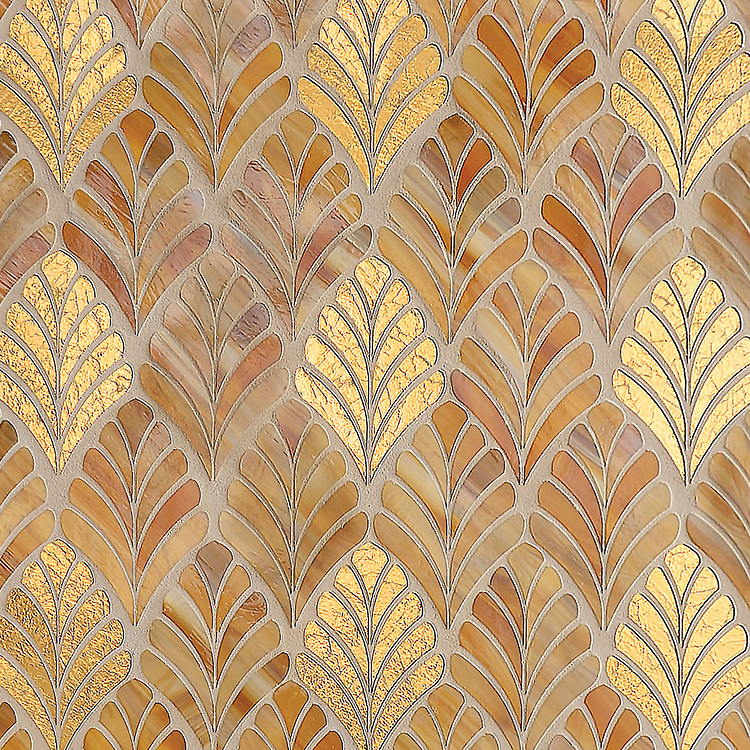 Margot, a waterjet jewel glass mosaic, shown in Gold Glass and Tiger's Eye.