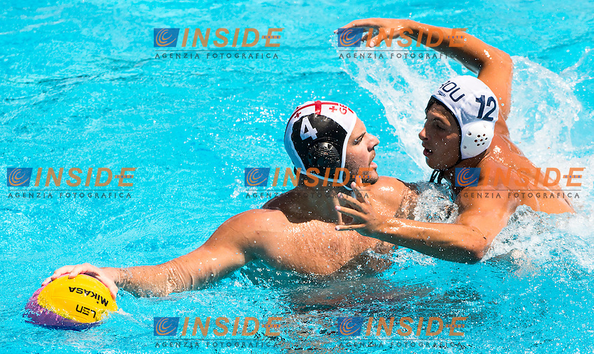 4  ELEZ Marko GEO<br /> 12 POPOVICIU Alex ROU<br /> Romania(white) vs Georgia(black)<br /> LEN European Water Polo Championships 2014<br /> Alfred Hajos -Tamas Szechy Swimming Complex<br /> Margitsziget - Margaret Island<br /> Day01 - July 14 <br /> Photo G. Scala/Inside/