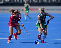 Ireland's Nicola Daly battles with Spain's Maria Lopez<br /> <br /> Photographer Hannah Fountain/CameraSport<br /> <br /> Vitality Hockey Women's World Cup - Ireland v Spain - Saturday 4th August 2018 - Lee Valley Hockey and Tennis Centre - Stratford<br /> <br /> World Copyright &copy; 2018 CameraSport. All rights reserved. 43 Linden Ave. Countesthorpe. Leicester. England. LE8 5PG - Tel: +44 (0) 116 277 4147 - admin@camerasport.com - www.camerasport.com