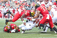 College Park, MD - September 15, 2018: Temple Owls fullback Rob Ritrovato (4) is tackled by several Maryland Terrapins defenders during the game between Temple and Maryland at  Capital One Field at Maryland Stadium in College Park, MD.  (Photo by Elliott Brown/Media Images International)