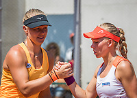 Paris, France, 1 June, 2017, Tennis, French Open, Roland Garros, Women's doubles: Kiki Bertens (NED) / Johanna Larsson (SWE) (R) congratulate each other after winning<br /> Photo: Henk Koster/tennisimages.com