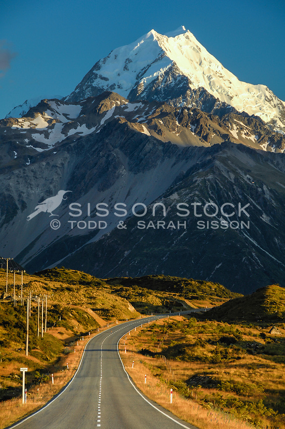 Aoraki Mt Cook towers above SH80 - road to Mt Cook village. (Portrait)
