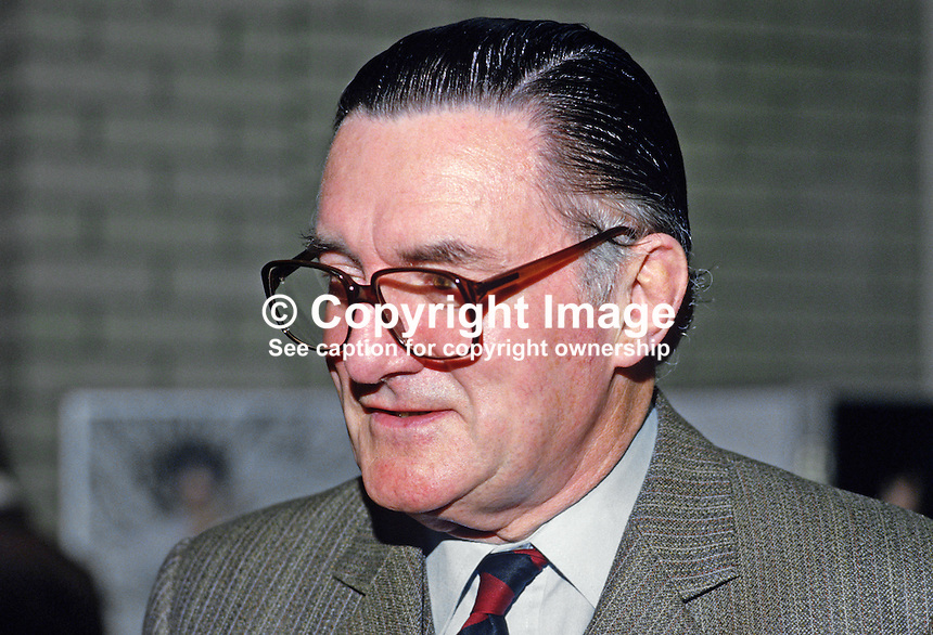 John Kenny, public relations officer, Ulster Bank, N Ireland. Former regimental sergeant major, Irish Guards. 19850416JK.<br />