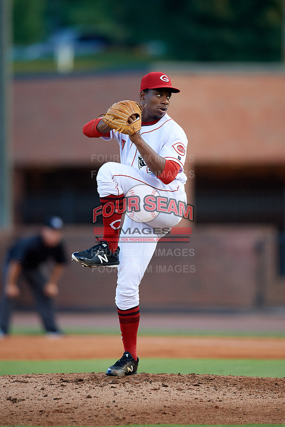 Greeneville Reds starting pitcher Josiah Gray (7) delivers a pitch during a game against the Pulaski Yankees on July 27, 2018 at Pioneer Park in Greeneville, Tennessee.  Greeneville defeated Pulaski 3-2.  (Mike Janes/Four Seam Images)