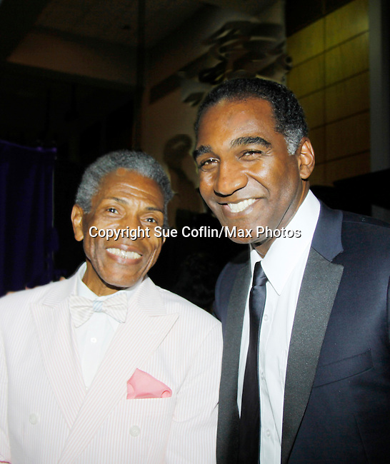 "Andre De Shields ""Marshall Lincoln Kramer III"" - Another World poses with Norm Lewis ""Keith McLean"" on All My Children at The National Black Theatre Festival with a week of plays, workshops and much more with an opening night gala of dinner, awards presentation followed by Black Stars of the Great White Way followed by a celebrity reception. It is an International Celebration and Reunion of Spirit. (Photo by Sue Coflin/Max Photos)"