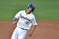 Cody Bellinger (16) of the Ogden Raptors hustles towards third base against the Grand Junction Rockies during Opening Night of the Pioneer League Season on June 16, 2014 at Lindquist Field in Ogden, Utah. (Stephen Smith/Four Seam Images)