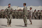 Mcc0053988 . Daily Telegraph<br /> <br /> DT News<br /> <br /> (left) Command RSM Gary Main ,Cmdr TFH Brigadier Woodham(centre) and Cmdr Gen RC South West Brigadier General Yoo(right) at the official handover ceremony taking place in Camp Bastion of Task Force Helmand to Nato command signalling the end of British combat operations in Afghanistan .<br /> <br /> Helmand 30 March 2014