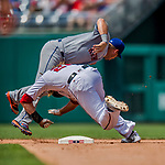 29 April 2017: New York Mets infielder Asdrubal Cabrera collides with Washington Nationals outfielder Jayson Werth in the 4th inning during a game at Nationals Park in Washington, DC. The Mets defeated the Nationals 5-3 to take the second game of their 3-game weekend series. Mandatory Credit: Ed Wolfstein Photo *** RAW (NEF) Image File Available ***