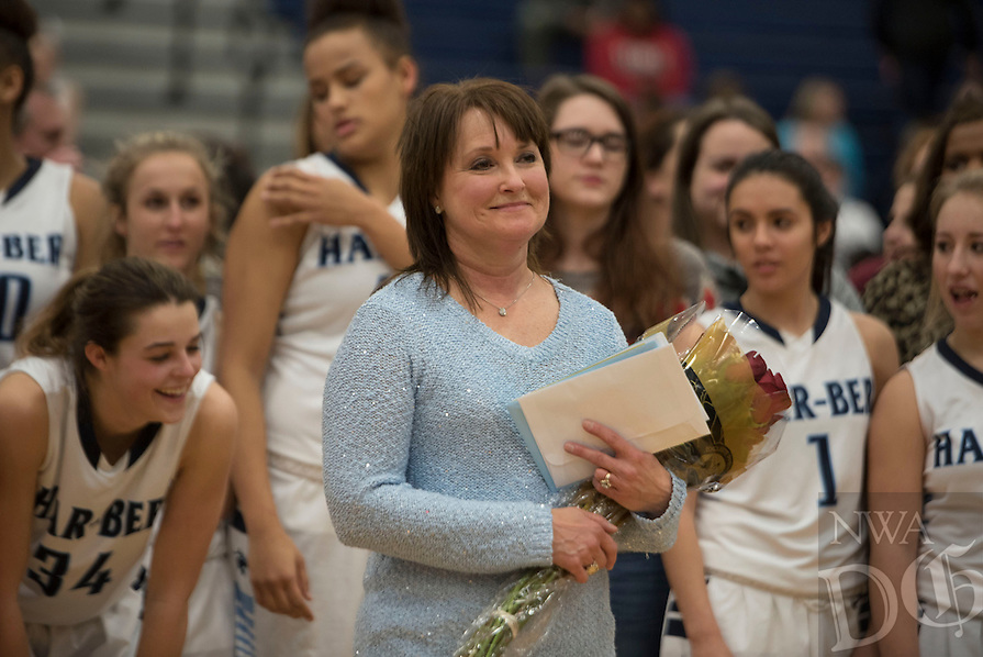 NWA Democrat-Gazette/J.T. WAMPLER  Har-Ber head coach Sandy Wright gets honored Monday Feb. 8, 2016. For a gallery of images go to http://nwamedia.photoshelter.com/