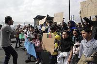 Pictured: Protesters gather in Piraeus port Tuesday 08 March 2016<br /> Re: Afghan migrants hold a protest at Piraeus port, near Athens, Greece.