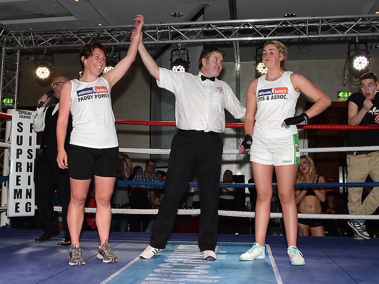Donna Dunne Clogherhead Dreadnots beat Maeve Kavanagh St Feckins in the White Collar Boxing in City North Hotel. Photo:Colin Bell/pressphotos.ie