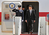 Japanese Prime Minister Yukio Hatoyama arrives for the Nuclear Security Summit, at Andrews Air Force Base, Maryland, April 12, 2010.  .Credit: Kevin Dietsch / Pool via CNP