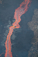 May 2018: An aerial view of a large lava river in the Puna district, Big Island of Hawai'i; it originated in Leilani Estates in another part of Puna.