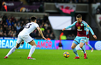 Swansea City's Federico Fernandez vies for possession with Burnley's Johann Gudmundsson<br /> <br /> Photographer Ashley Crowden/CameraSport<br /> <br /> The Premier League - Swansea City v Burnley - Saturday 10th February 2018 - Liberty Stadium - Swansea<br /> <br /> World Copyright &copy; 2018 CameraSport. All rights reserved. 43 Linden Ave. Countesthorpe. Leicester. England. LE8 5PG - Tel: +44 (0) 116 277 4147 - admin@camerasport.com - www.camerasport.com