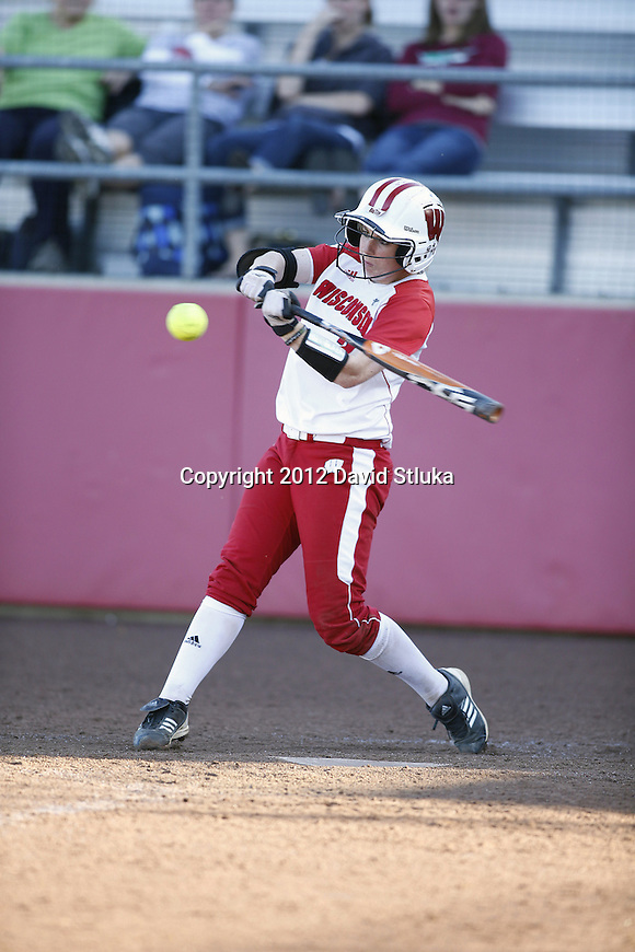 Wisconsin Badgers Whitney Massey (2) swings at a pitch during an NCAA women's softball game against the Green Bay Phoenix Saturday, September 29, 2012 in Madison, Wis. (Photo by David Stluka)