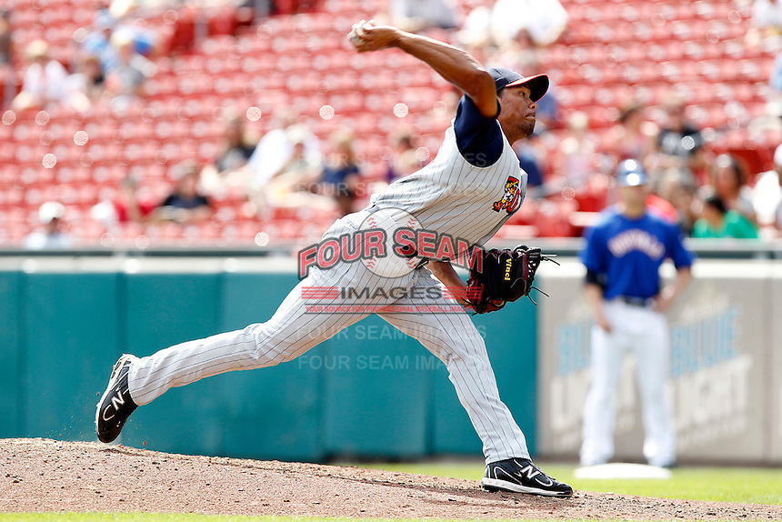 Toledo Mudhens relief pitcher Jose Ortega #43 during a game against the Buffalo Bisons at Coca-Cola Field on August 17, 2011 in Buffalo, New York.  Buffalo defeated Toledo 4-2.  (Mike Janes/Four Seam Images)