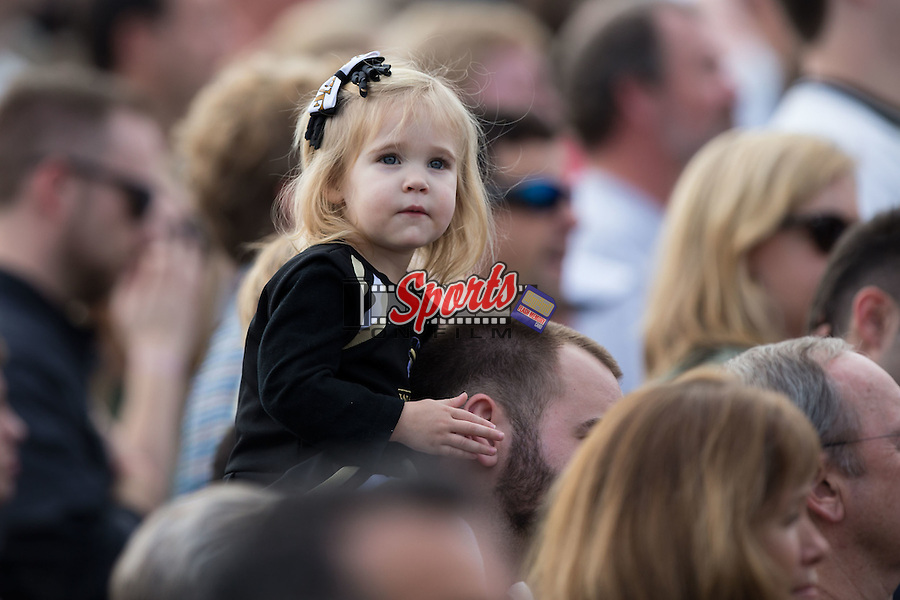 A young Wake Forest fan is ready to cheer on the Demon Deacons men's soccer team as they face the Indiana Hoosiers in the third round of the 2015 NCAA College Cup at Spry Soccer Stadium on November 22, 2015 in Winston-Salem, North Carolina.  The Demon Deacons defeated the Hoosiers 1-0.  (Brian Westerholt/Sports On Film)