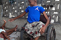 "Fernando lives in Beira city,  Mozambique, together with his family and is 17 years old. He is missing one leg due to an infected wound and is currently not attending school due to his illness. His biggest wish is to be able to return to school, find a job and have a house and children one day. But ""no wife"", as he says, as it´s ""too complicated"". Fernando together with his sister Whitney at home."
